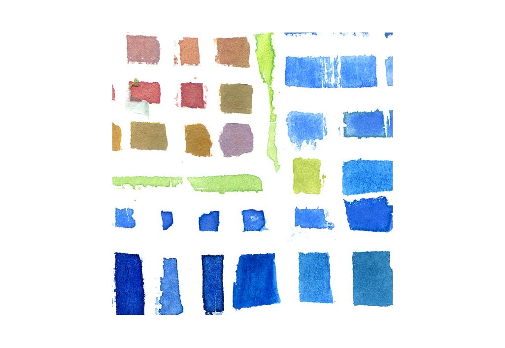 Bleu et carré rose