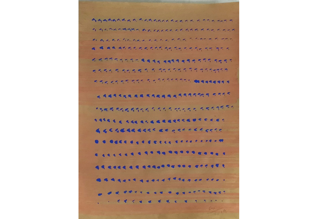 Etude orange et bleu sur kraft