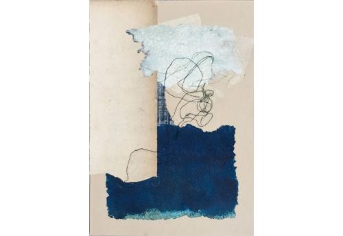 Petits papiers et fils de soie - Bleu peint