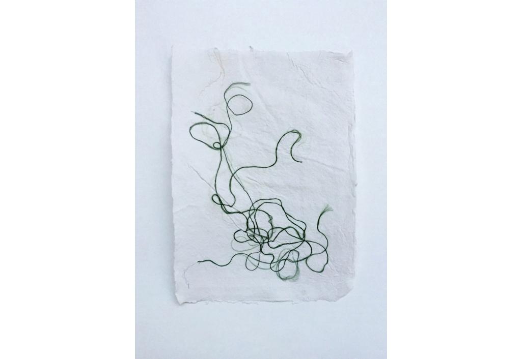 Petits papiers blanc et fils de soie - Vert 2