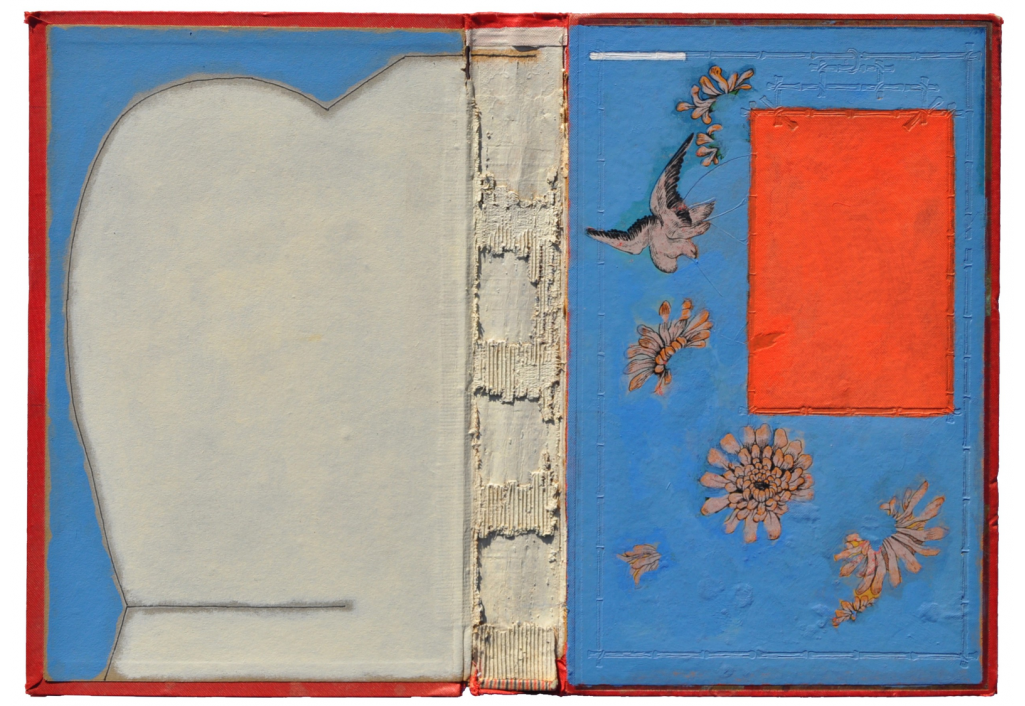 Livre ouvert - Bleu clair et rouge - La colombe