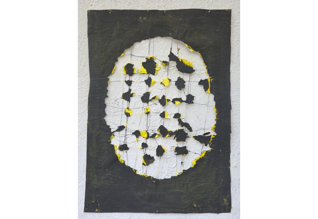 Ovale - Jaune et noir Edward Baran Oeuvre sur papier Zeuxis