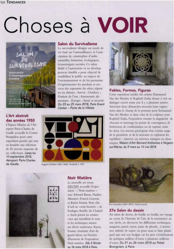 Zeuxis galerie d'art dans le magazine l'Officiel de la Maison