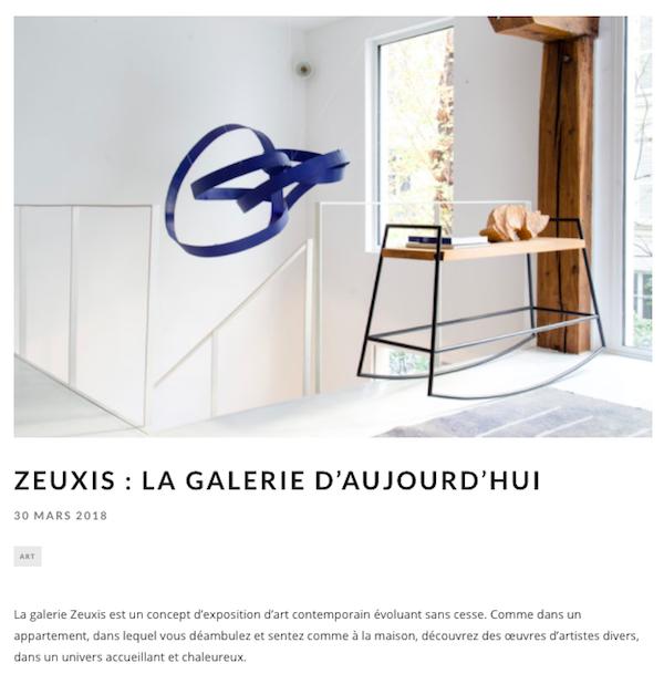 Zeuxis galerie d'art dans le magazine Résidence Décoration